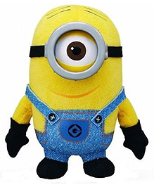 Kuhu Creation 3D Despicable Me Oey Resin Eyes Minion Small Soft Toy Yellow - 14 Cm