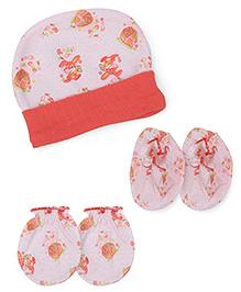 Babyhug Cap Mittens Booties Set Rabbit Print - Orange
