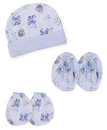 Babyhug Cap Mittens Booties Set Rabbit Print - Blue