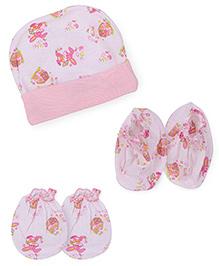 Babyhug Cap Mittens Booties Set Rabbit Print - Light Pink