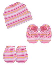Babyhug Cap Mittens Booties Set Strip print - Pink