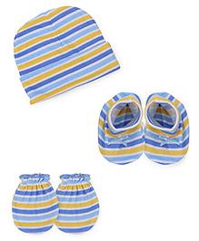 Babyhug Cap Mittens Booties Set Strip Print - Blue
