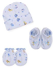 Babyhug Cap Mittens Booties Set Animal Print - Blue