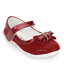 Cute Walk by Babyhug Mary Jane Shoes Bow Applique - Red