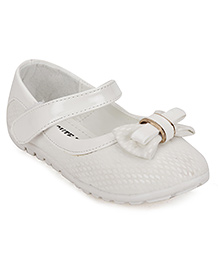 Cute Walk by Babyhug Mary Jane Shoes Bow Applique - White