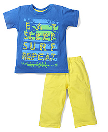 Babyhug Half Sleeves Night Suit Caption Print - Royal Blue Yellow