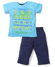 Babyhug Half Sleeves Night Suit Caption Print - Navy Blue