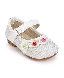 Cute Walk by Babyhug Mary Jane Shoes Pearl And Floral Detail - White