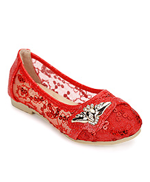 Cute Walk by Babyhug Belly Shoes Sequin And Studded Detail - Red