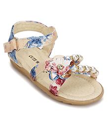 Cute Walk by Babyhug Sandals Floral Applique - Beige
