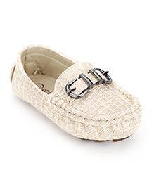 Cute Walk by Babyhug Loafer Shoes Buckle Design - Cream