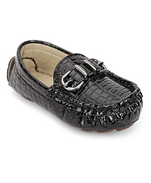 Cute Walk by Babyhug Loafer Shoes Buckle Design - Black