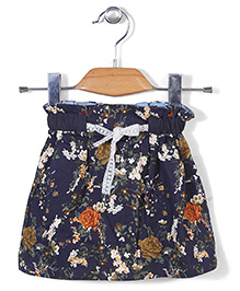 Miss Pretty Floral Print Skirt - Blue