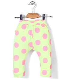 Miss Pretty Dot Print Leggings - Green & Pink