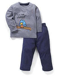Babyhug Full Sleeves Night Suit - Grey And Navy