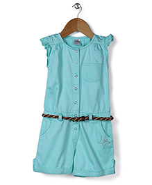 Babyhug Short Sleeves Jumpsuit With Belt - Sea Green