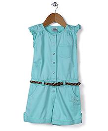 Babyhug Short Sleeves Jumpsuit With Belt - Sea Green
