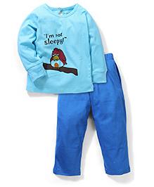 Babyhug Full Sleeves Night Suit - Aqua And Royal