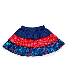 CrayonFlakes Floral Print Tiered Skirt - Navy & Red