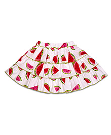 CrayonFlakes Watermelon Print Tiered Skirt - White