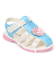 Cute Walk by Babyhug Sandals Floral Applique - Blue White