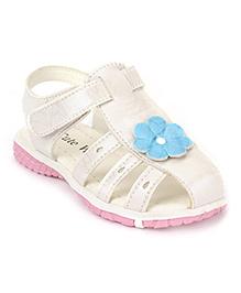Cute Walk by Babyhug Sandals Floral Applique - White