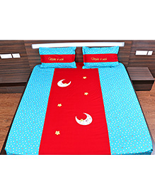 Bananaah In The Sky Appliqued Double Bedsheet - Cyan Blue & Red
