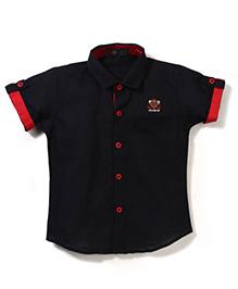Robo Fry Half Sleeves Shirt Fashion Embroidery -  Black