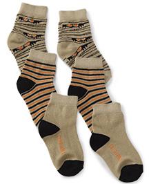 Cute Walk by Babyhug Monster Jam Socks Beige Black Orange - Set Of 3