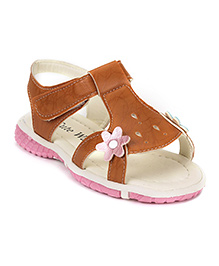 Cute Walk by Babyhug Sandals Floral Motif - Brown
