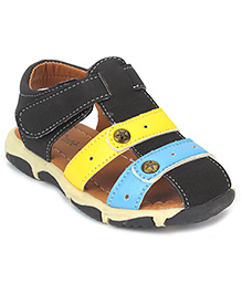 Cute Walk by Babyhug Floater Sandals - Black Yellow Blue