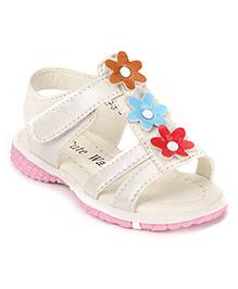 Cute Walk by Babyhug Sandals Floral Applique - Off White