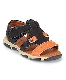 Cute Walk by Babyhug Sandals - Black And Orange