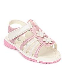Cute Walk by Babyhug Sandals Floral Motifs - White Light Pink