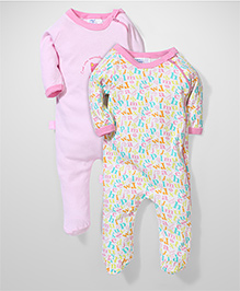 Honey Bunny Full Sleeves Footed Romper Sleepsuit Set of 2 - Pink White