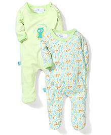 Honey Bunny Full Sleeves Footed Romper Sleepsuit Set of 2 - Green White