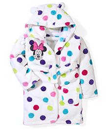 Abracadabra Polka Dot Hooded Bath Robe Minnie Mouse Embroidery - White