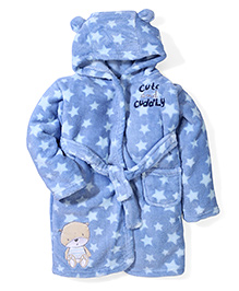 Abracadabra Hooded Bath Robe Star Design - Blue
