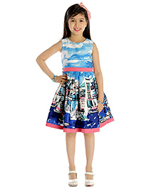 My Lil'Berry Sleeveless A Line Party Dress Sea Print - Blue