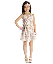 My Lil'Berry Sleeveless Floral Layered Party Dress - Light Pink