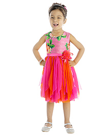 My Lil'Berry Sleeveless Floral Print Party Dress Floral Print And Applique - Pink And Orange