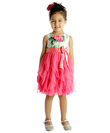 My Lil'Berry Sleeveless Floral Print Party Dress With Bow Applique - Green And Pink