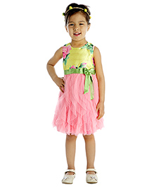 My Lil'Berry Sleeveless Floral Print Party Dress With Bow Applique - Yellow And Pink