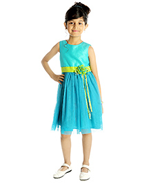 My Lil'Berry Sleeveless Party Mesh Dress With Floral Applique - Blue