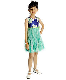 My Lil'Berry Sleeveless Layered Dress Floral Print - Blue
