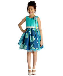 My Lil'Berry Sleeveless Floral Print And Applique Party Dress - Blue