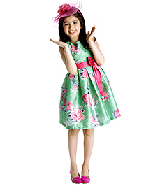 My Lil'Berry Sleeveless Floral Print Party Dress With Bow Applique - Green