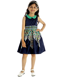My Lil'Berry Sleeveless Printed Party Dress - Navy Blue And Green