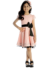 My Lil'Berry Sleeveless A Line Lace Dress Bow Applique - Light Pink