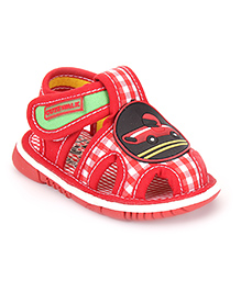 Cute Walk by Babyhug Sandals Car Patch And Checks Print - Red
